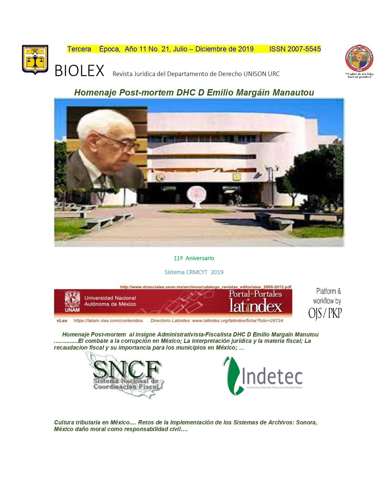 Ver Vol. 11 Núm. 21 jul-dic (2019): BIOLEX